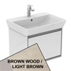 Ideal Standard CONCEPT AIR Cube Wall Hung Vanity Unit Only, 1 Drawer, 600mm Wide, Light Brown Wood / Matt White