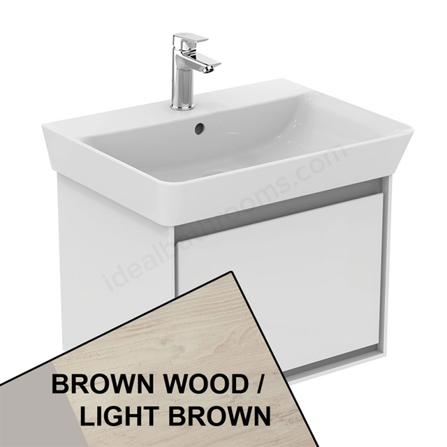 Ideal Standard CONCEPT AIR Cube Wall Hung Vanity Unit Only; 1 Drawer; 600mm Wide; Light Brown Wood / Matt White