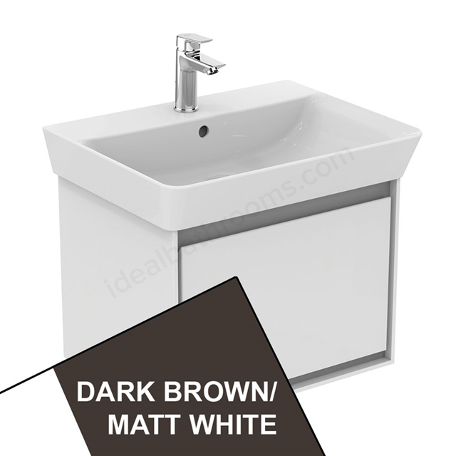 Ideal Standard CONCEPT AIR Cube Wall Hung Vanity Unit Only; 1 Drawer; 600mm Wide; Matt Dark Brown / Matt White