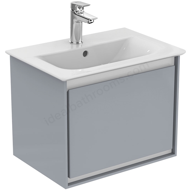 Ideal Standard CONCEPT AIR Wall Hung Vanity Unit Only; 1 Drawer; 500mm Wide; Gloss Grey / Matt White