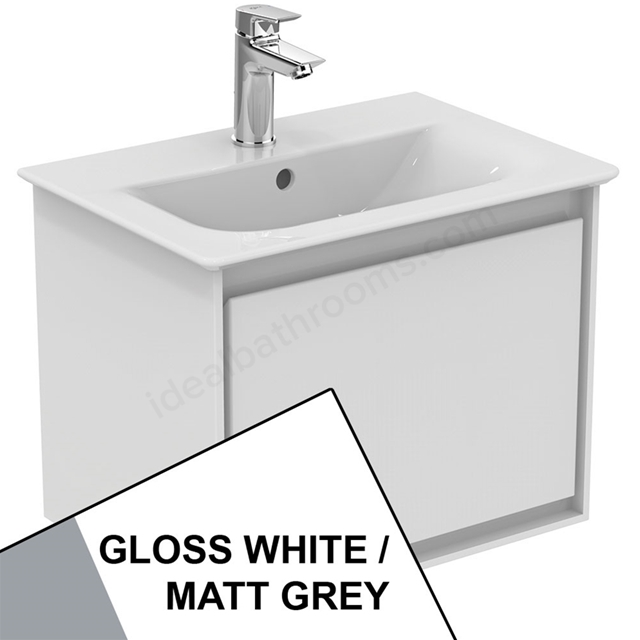 Ideal Standard CONCEPT AIR Wall Hung Vanity Unit Only; 1 Drawer; 500mm Wide; Gloss White / Matt Grey