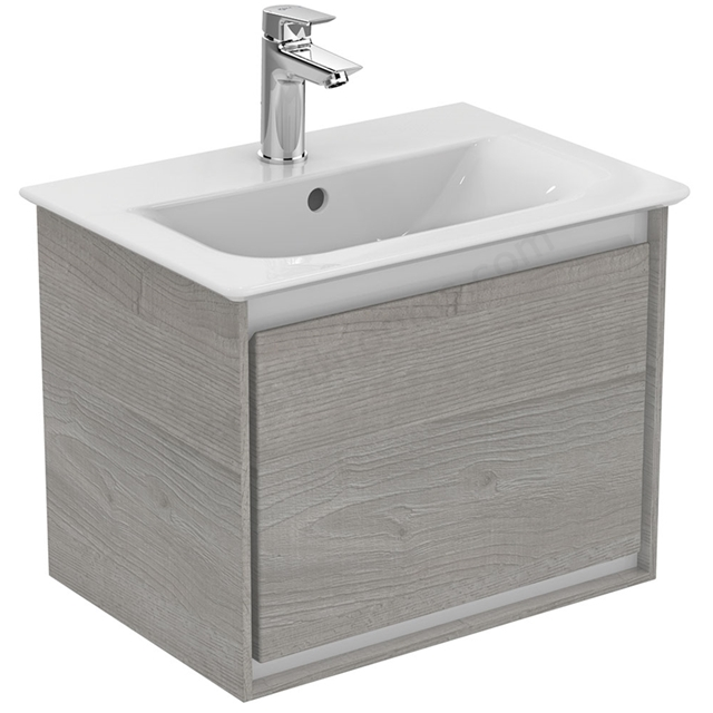 Ideal Standard CONCEPT AIR Wall Hung Vanity Unit Only; 1 Drawer; 500mm Wide; Light Grey Wood / Matt White