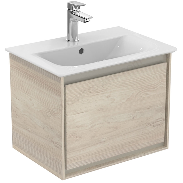 Ideal Standard CONCEPT AIR Wall Hung Vanity Unit Only; 1 Drawer; 500mm Wide; Light Brown Wood / Matt White