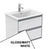 Ideal Standard CONCEPT AIR Wall Hung Vanity Unit Only, 2 Drawers, 600mm Wide, Gloss White / Matt White
