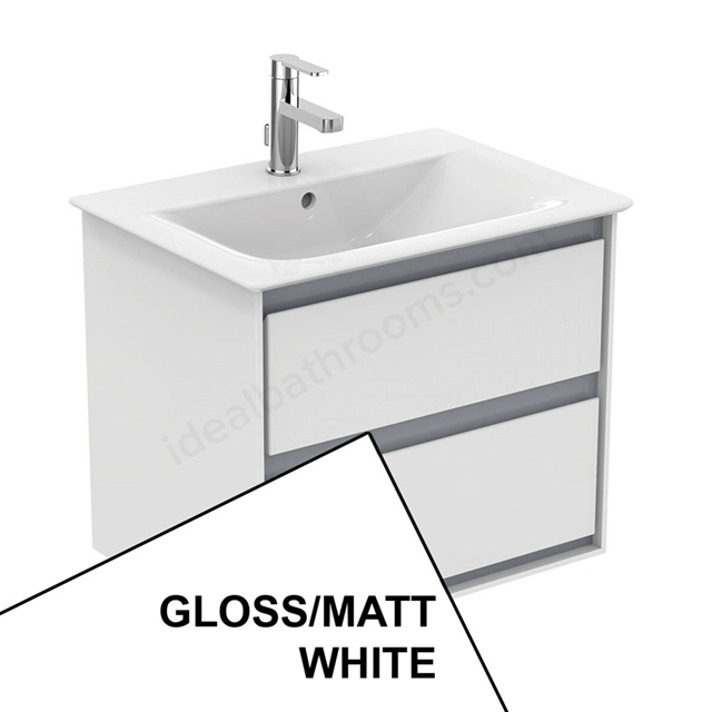 Ideal Standard CONCEPT AIR Wall Hung Vanity Unit Only; 2 Drawers; 600mm Wide; Gloss White / Matt White
