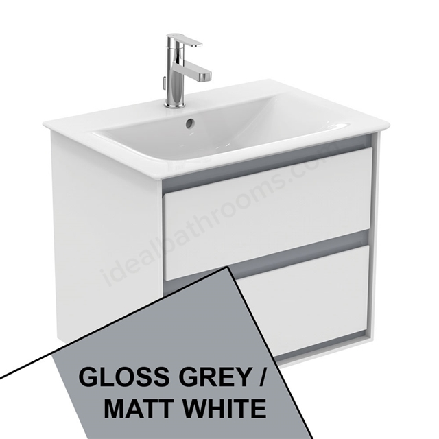 Ideal Standard CONCEPT AIR Wall Hung Vanity Unit Only; 2 Drawers; 600mm Wide; Gloss Grey / Matt White