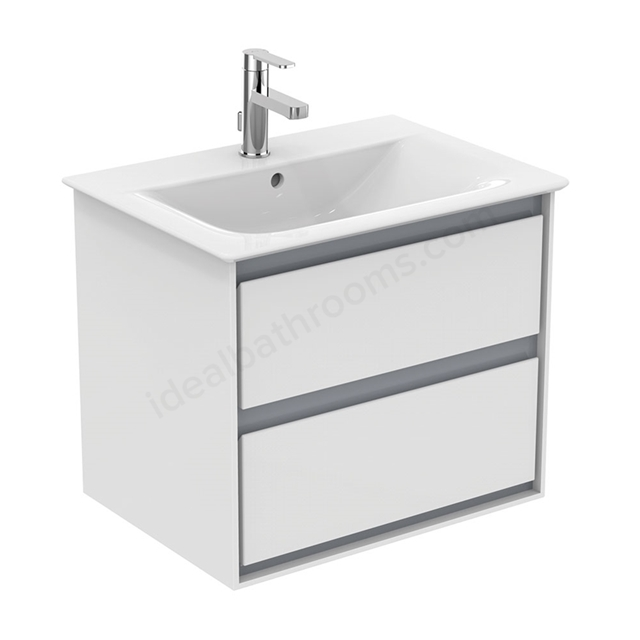 Ideal Standard CONCEPT AIR Wall Hung Vanity Unit Only; 2 Drawers; 600mm Wide; Gloss White / Matt Grey