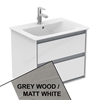 Ideal Standard CONCEPT AIR Wall Hung Vanity Unit Only; 2 Drawers; 600mm Wide; Light Grey Wood / Matt White