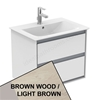 Ideal Standard CONCEPT AIR Wall Hung Vanity Unit Only; 2 Drawers; 600mm Wide; Light Brown Wood / Matt White