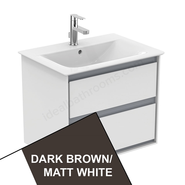Ideal Standard CONCEPT AIR Wall Hung Vanity Unit Only; 2 Drawers; 600mm Wide; Matt Dark Brown / Matt White
