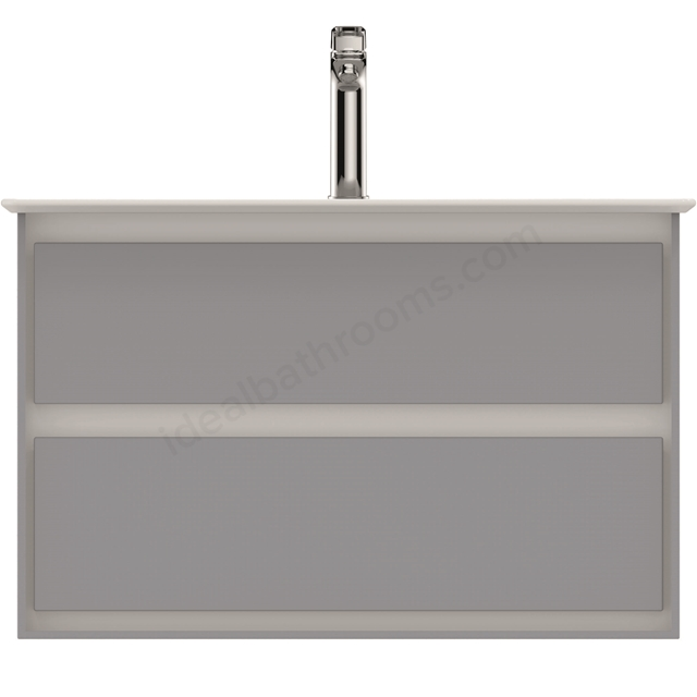 Ideal Standard CONCEPT AIR Wall Hung Vanity Unit Only; 2 Drawers; 800mm Wide; Gloss Grey / Matt White