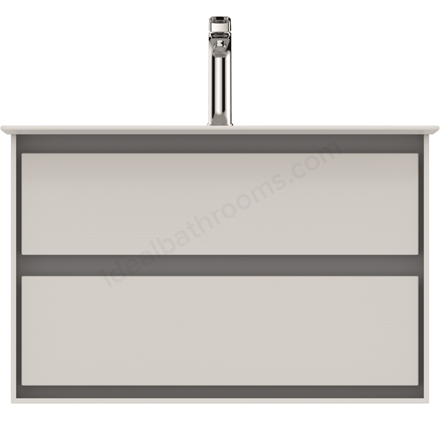 Ideal Standard CONCEPT AIR Wall Hung Vanity Unit Only, 2 Drawers, 800mm Wide, Gloss White / Matt Grey