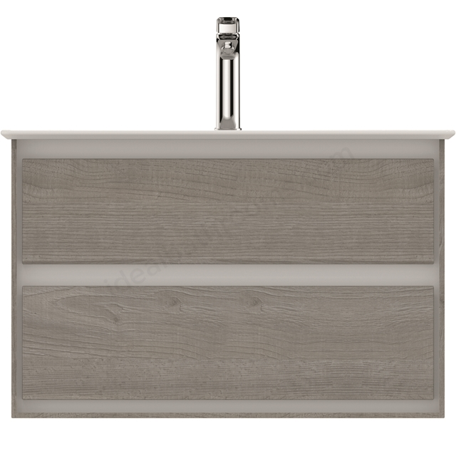Ideal Standard CONCEPT AIR Wall Hung Vanity Unit Only; 2 Drawers; 800mm Wide; Light Grey Wood / Matt White
