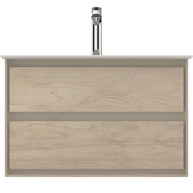 Ideal Standard CONCEPT AIR Wall Hung Vanity Unit Only; 2 Drawers; 800mm Wide; Light Brown Wood / Matt White