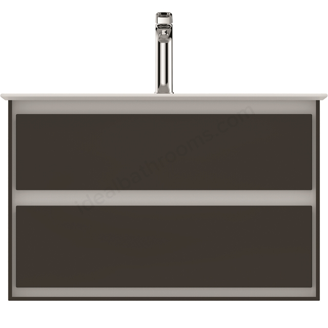 Ideal Standard CONCEPT AIR Wall Hung Vanity Unit Only; 2 Drawers; 800mm Wide; Matt Dark Brown / Matt White