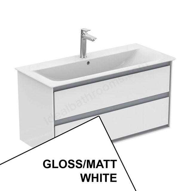 Ideal Standard CONCEPT AIR Wall Hung Vanity Unit Only; 2 Drawers; 1000mm Wide; Gloss White / Matt White