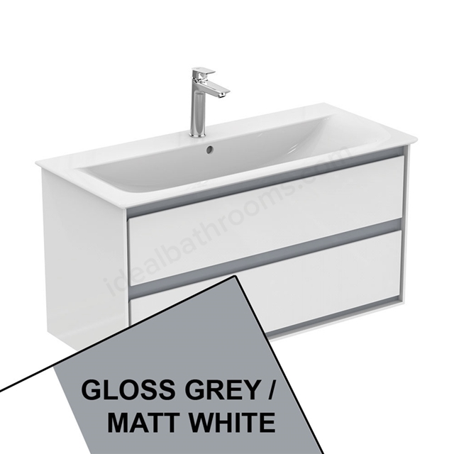 Ideal Standard CONCEPT AIR Wall Hung Vanity Unit Only; 2 Drawers; 1000mm Wide; Gloss Grey / Matt White
