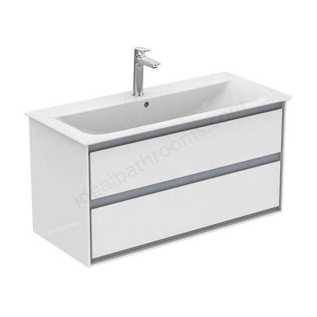 Ideal Standard CONCEPT AIR Wall Hung Vanity Unit Only; 2 Drawers; 1000mm Wide; Gloss White / Matt Grey