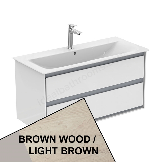 Ideal Standard CONCEPT AIR Wall Hung Vanity Unit Only; 2 Drawers; 1000mm Wide; Light Brown Wood / Matt White