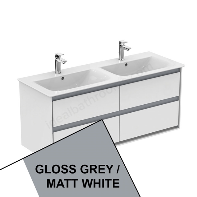Ideal Standard CONCEPT AIR Wall Hung Vanity Unit Only; 4 Drawers; 1000mm Wide; Gloss Grey / Matt White