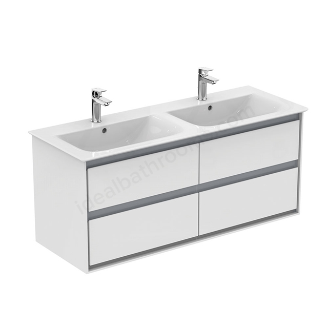 Ideal Standard CONCEPT AIR Wall Hung Vanity Unit Only; 4 Drawers; 1000mm Wide; Gloss White / Matt Grey