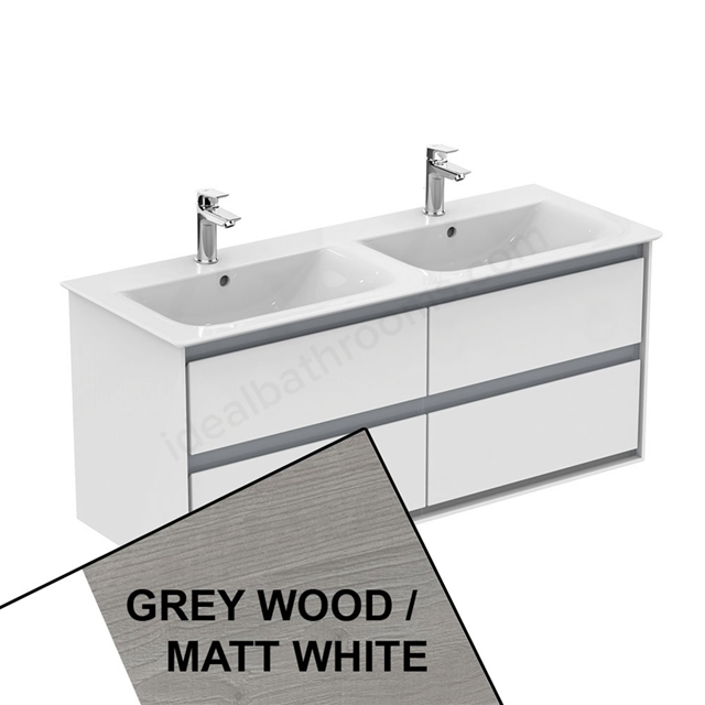 Ideal Standard CONCEPT AIR Wall Hung Vanity Unit Only; 4 Drawers; 1000mm Wide; Light Grey Wood / Matt White