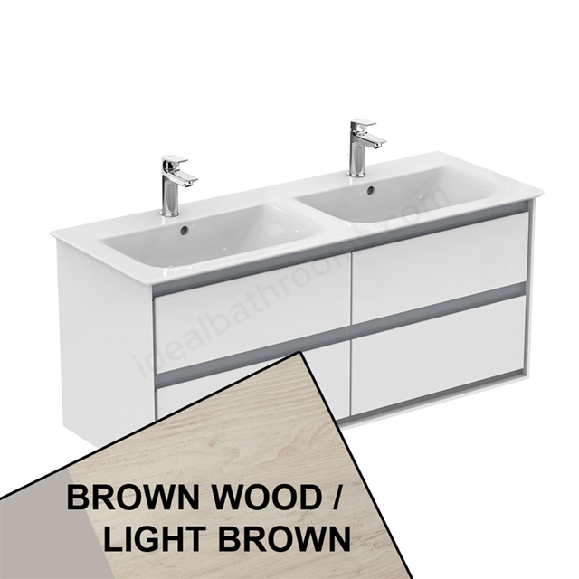 Ideal Standard CONCEPT AIR Wall Hung Vanity Unit Only; 4 Drawers; 1000mm Wide; Light Brown Wood / Matt White