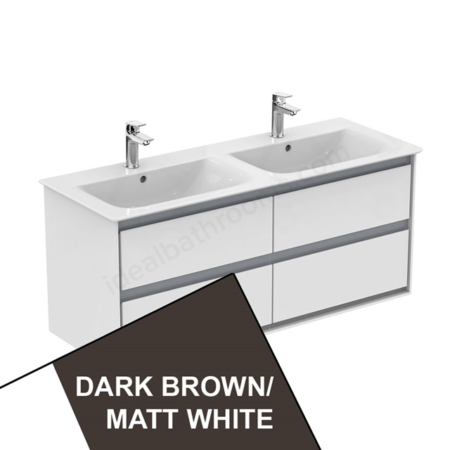 Ideal Standard CONCEPT AIR Wall Hung Vanity Unit Only; 4 Drawers; 1000mm Wide; Matt Dark Brown / Matt White