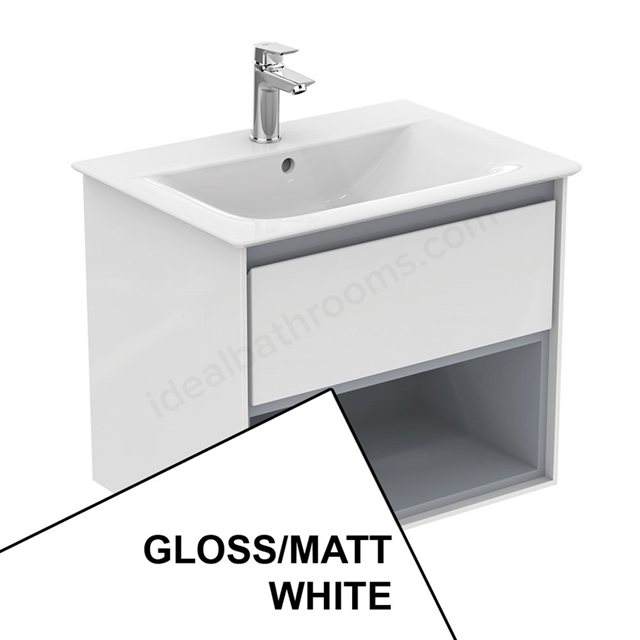 Ideal Standard CONCEPT AIR Wall Hung Vanity Unit Only; 1 Drawer + Open Shelf; 600mm Wide; Gloss White / Matt White