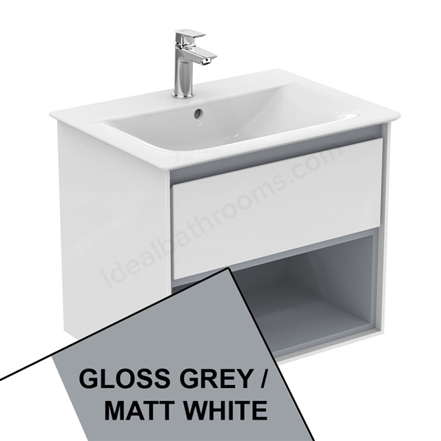 Ideal Standard CONCEPT AIR Wall Hung Vanity Unit Only; 1 Drawer + Open Shelf; 600mm Wide; Gloss Grey / Matt White