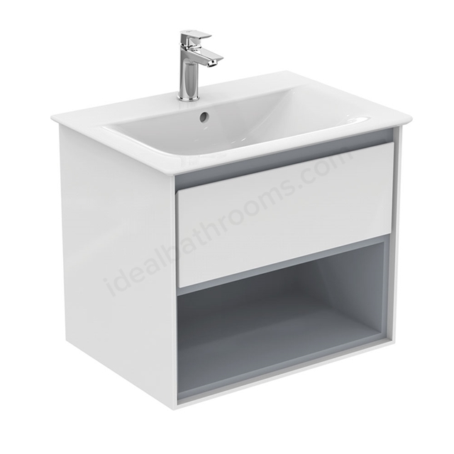 Ideal Standard CONCEPT AIR Wall Hung Vanity Unit Only; 1 Drawer + Open Shelf; 600mm Wide; Gloss White / Matt Grey