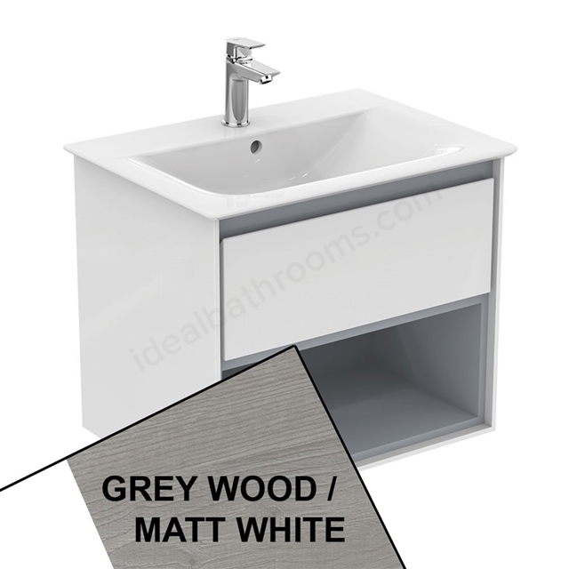 Ideal Standard CONCEPT AIR Wall Hung Vanity Unit Only; 1 Drawer + Open Shelf; 600mm Wide; Light Grey Wood / Matt White