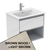 Ideal Standard CONCEPT AIR Wall Hung Vanity Unit Only; 1 Drawer + Open Shelf; 600mm Wide; Light Brown Wood / Matt White