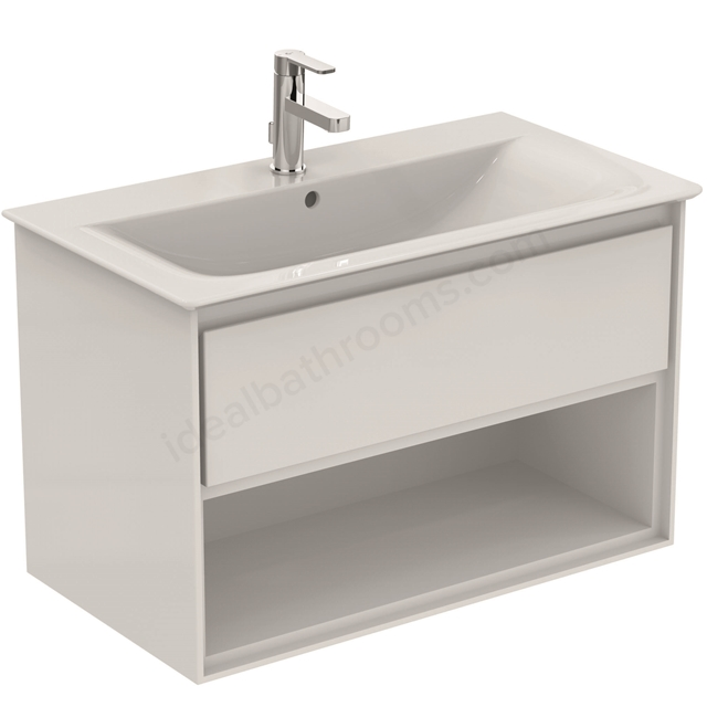 Ideal Standard CONCEPT AIR Wall Hung Vanity Unit Only; 1 Drawer + Open Shelf; 800mm Wide; Gloss White / Matt White
