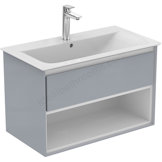 Ideal Standard CONCEPT AIR Wall Hung Vanity Unit Only; 1 Drawer + Open Shelf; 800mm Wide; Gloss Grey / Matt White