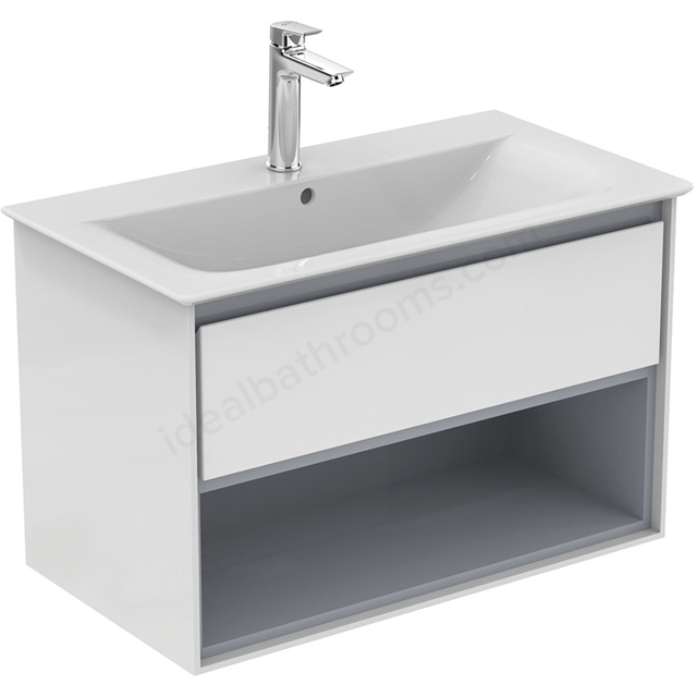 Ideal Standard CONCEPT AIR Wall Hung Vanity Unit Only; 1 Drawer + Open Shelf; 800mm Wide; Gloss White / Matt Grey