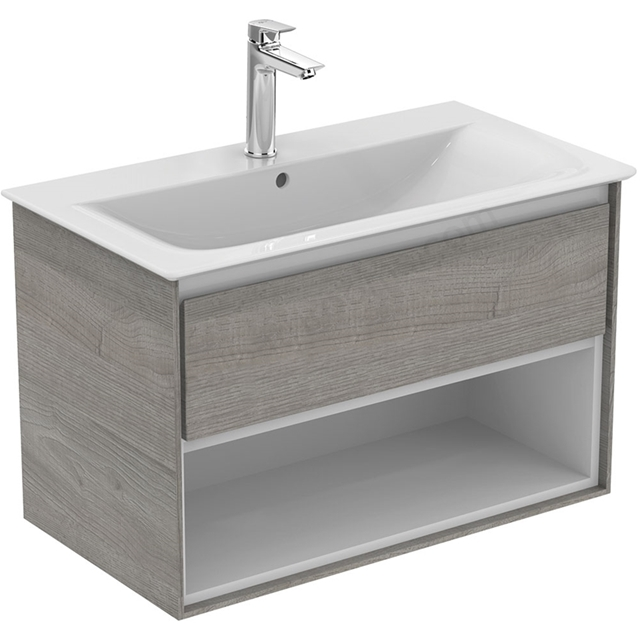 Ideal Standard CONCEPT AIR Wall Hung Vanity Unit Only; 1 Drawer + Open Shelf; 800mm Wide; Light Grey Wood / Matt White