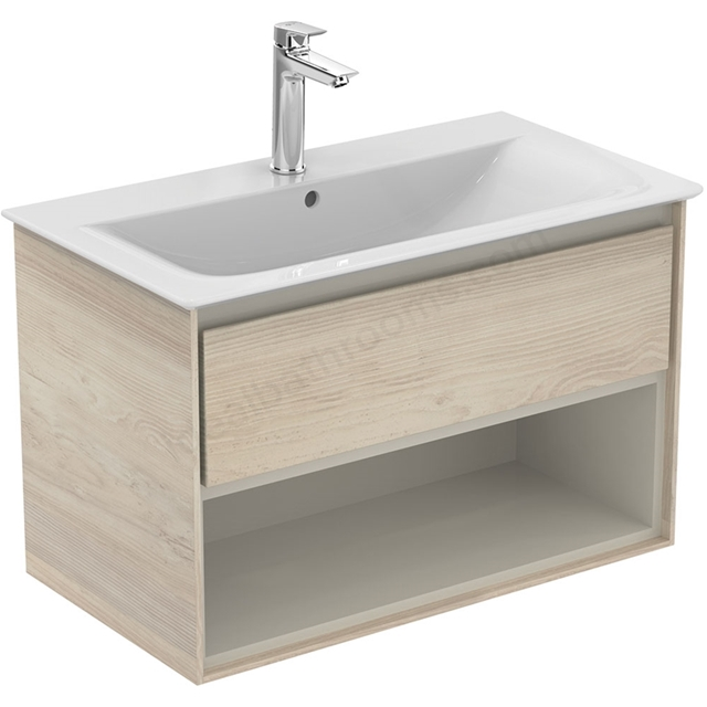 Ideal Standard CONCEPT AIR Wall Hung Vanity Unit Only; 1 Drawer + Open Shelf; 800mm Wide; Light Brown Wood / Matt White