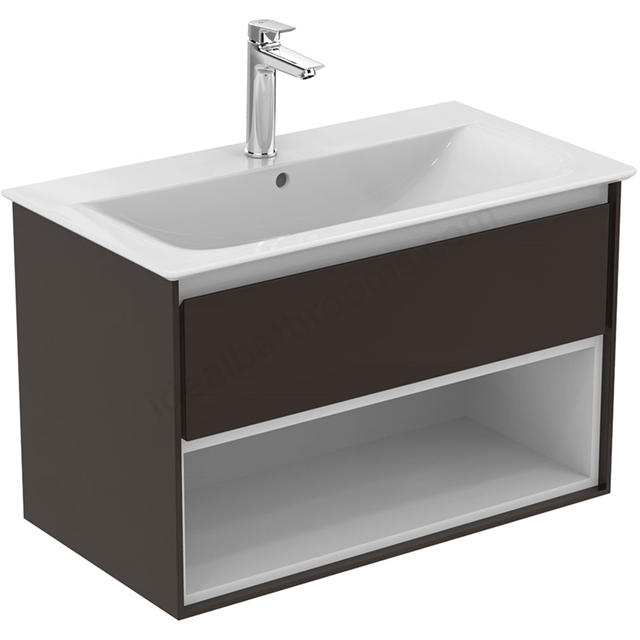 Ideal Standard CONCEPT AIR Wall Hung Vanity Unit Only; 1 Drawer + Open Shelf; 800mm Wide; Matt Dark Brown / Matt White
