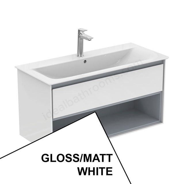 Ideal Standard CONCEPT AIR Wall Hung Vanity Unit Only; 1 Drawer + Open Shelf; 1000mm Wide; Gloss White / Matt White