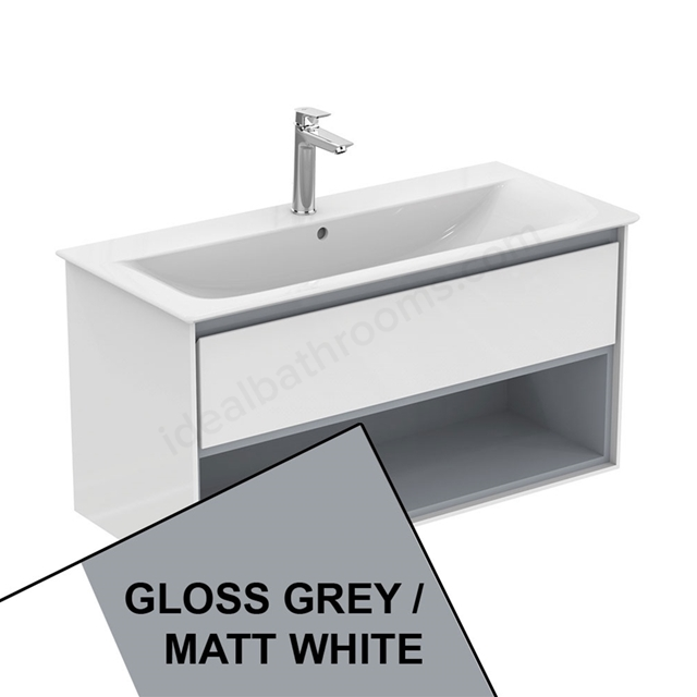Ideal Standard CONCEPT AIR Wall Hung Vanity Unit Only; 1 Drawer + Open Shelf; 1000mm Wide; Gloss Grey / Matt White