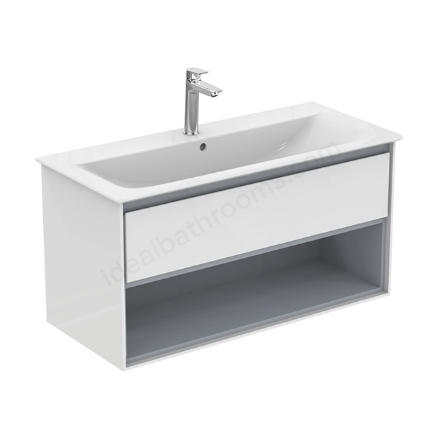 Ideal Standard CONCEPT AIR Wall Hung Vanity Unit Only; 1 Drawer + Open Shelf; 1000mm Wide; Gloss White / Matt Grey
