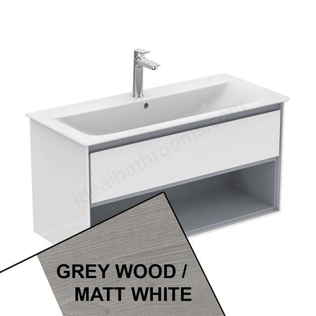 Ideal Standard CONCEPT AIR Wall Hung Vanity Unit Only; 1 Drawer + Open Shelf; 1000mm Wide; Light Grey Wood / Matt White