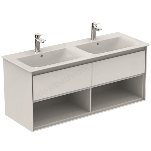Ideal Standard CONCEPT AIR Wall Hung Vanity Unit Only; 2 Drawers + Open Shelf; 1200mm Wide; Gloss White / Matt White