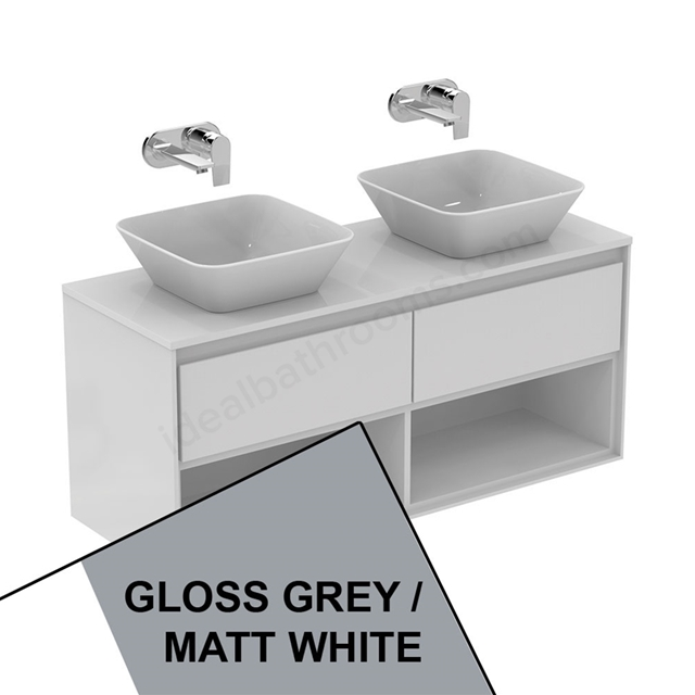 Ideal Standard CONCEPT AIR Wall Hung Vanity Unit Only; 2 Drawers + Open Shelf; 1200mm Wide; Gloss Grey / Matt White