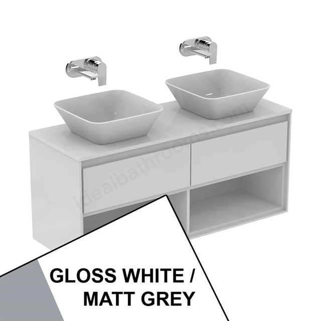 Ideal Standard CONCEPT AIR Wall Hung Vanity Unit Only; 2 Drawers + Open Shelf; 1200mm Wide; Gloss White / Matt Grey