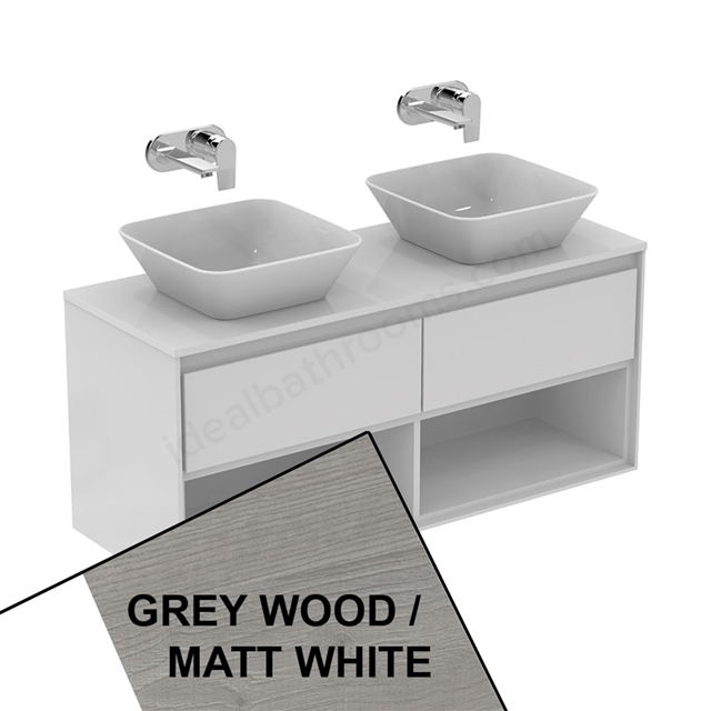Ideal Standard CONCEPT AIR Wall Hung Vanity Unit Only; 2 Drawers + Open Shelf; 1200mm Wide; Light Grey Wood / Matt White