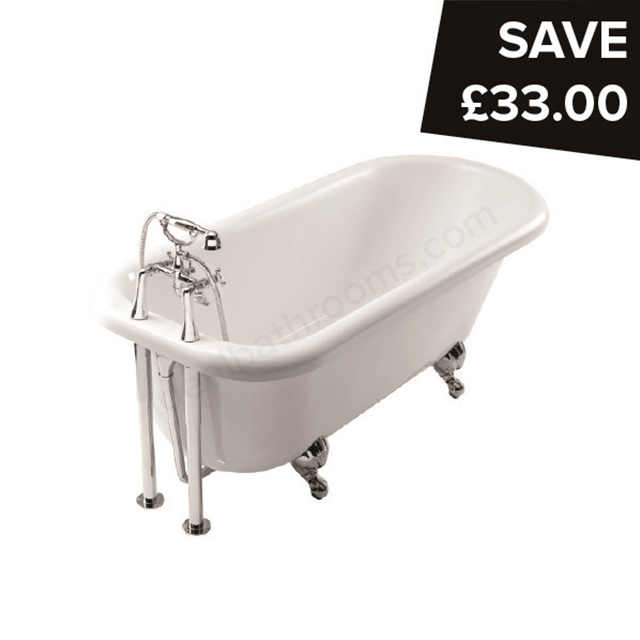 Essential LAMBETH Freestanding Slipper Single Ended Bath, 1560x740mm