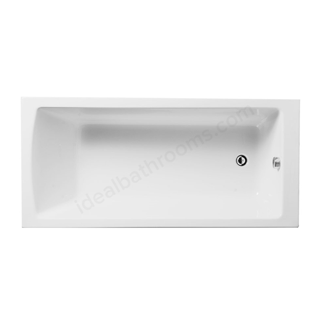 Vitra NEON Single Ended Rectangular Bath, 1600x700mm, 0 Tap Hole, White