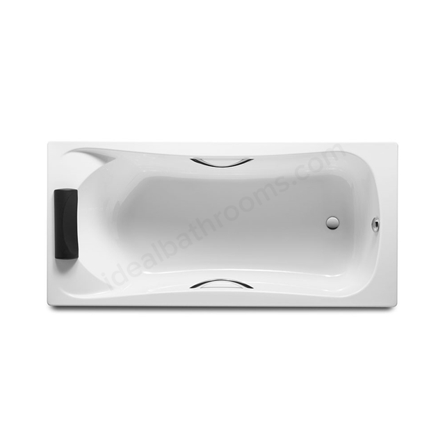 Roca BECOOL Single Ended Acrylic Rectangular Bath with 1 Headrest; with Grips 1700x800mm; 0 Tap Hole; White